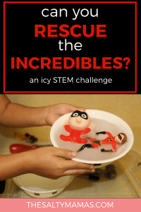 Celebrate the release of the Incredibles on DVD with this icy stem preschool challenge. Frozone has trapped the Incredibles in ice...can your preschooler free them in time? Find the full challenge (with a free printable letter!) at TheSaltyMamas.com. #stem #stempreschool #stemchallenge #easystemactivities #stemactivities #easystemactivity #preschool #kids #parents #education #science #stem #incredibles