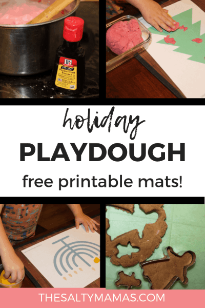 We've got a fresh take on holiday playdough activities for toddlers! From Christmas playdough to a homemade Gingerbread playdough recipe, and from Hannukah playdough mats to a pretend play center, we've got your holiday sensory play covered. Find the full list of activities at TheSaltyMamas.com. #holidays #christmas #toddleractivities #hannukahactivitiesforkids #christmasactivitiesforkids #christmasplaydough #gingerbreadplaydough #peppermintplaydough #playdoughcenters