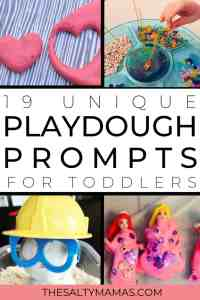 Ways for toddlers to play with playdough- four different preschool playdough centers ideas.