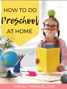 """a preschooler playing with school supplies; text overlay that reads """"how to do preschool at home"""""""