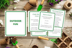 """cards related to """"outdoor fun"""" on a garden overlay"""