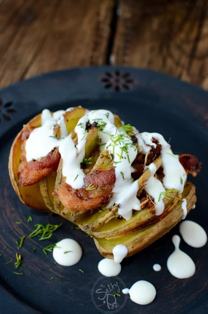 Smokey Bacon HASSELBACK POTATOES with Cream Sauce