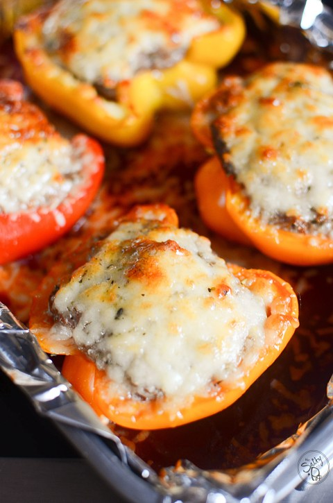 Savory sausage stuffed sweet peppers with parmesan