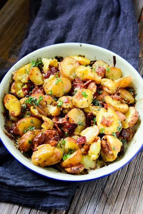Crispy, buttery, smoky, salty, herb-y - this roasted potato dish with bacon and rosemary is a show stopper