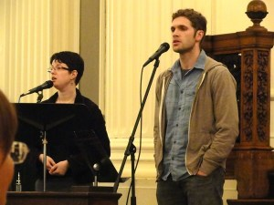 """Sanctuary Team leaders Dave Ruffin, Joanna Lubkin, and Mark Buckles (on piano, not seen in this picture) lead the community in Sarah Dan Jones' """"Meditation on Breathing"""""""