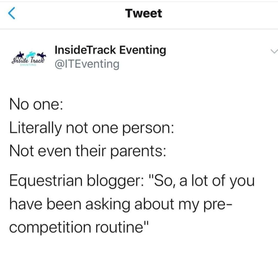 Inside track eventing nails it once again with this hilarious tweet