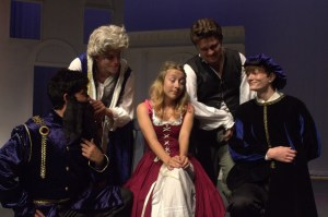 Avery Yeatman surrounded by her suitors, from left to right, Richard Avelino, Nathanael Hayes, Gunnar Cumming, and Hans Voegeli.