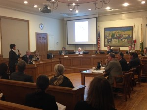 Valentia Piccinini speaking at the Monterey City Council on Oct. 7 in support of a medicinal marijuana dispensary.