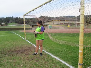 Junior Guadalupe Martinez prepares for goalie for the first time adding depth to the varsity girls soccer team.