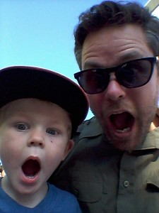 Stafford and his son, Liam, make funny faces for the camara.