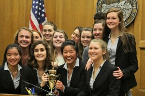 The Carmel mock trial team after winning the county finals.