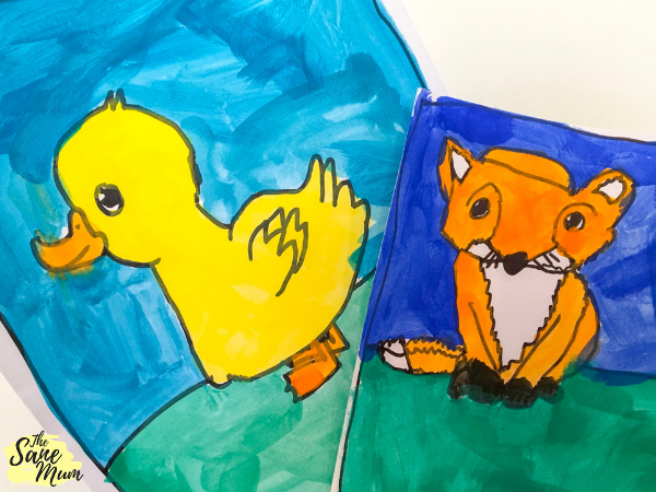 Artventure: online art classes. Pictures of a duckling and a fox painted by kids.