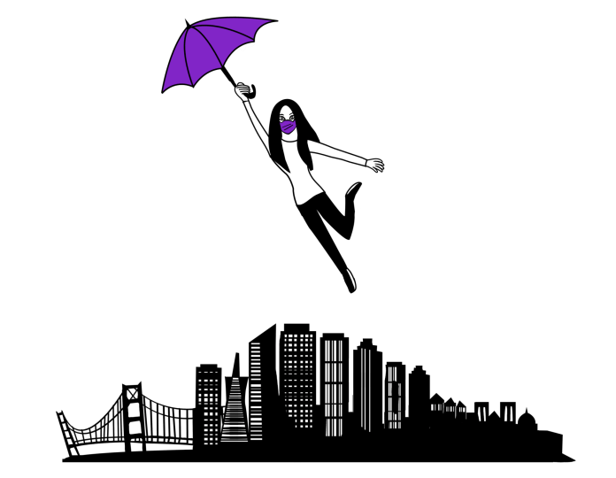 A woman holding an umbrella floating over the city of San Francisco