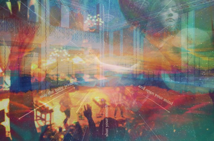 Colorful collage image layering concert photos on top of architectural drawings.