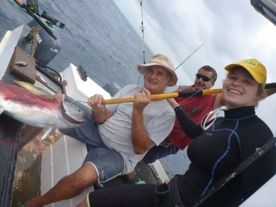 Brian Lange with Frenzy's 14kg Yellowfin Tuna