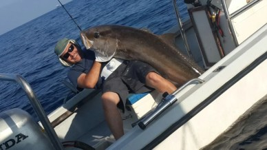 Massive Amberjack inched up from deep down, 60m and more, in the Medittaranean by David Kosta (featured)
