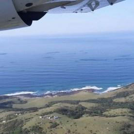 Greg Thompson aerial shot taken over the Transkei coastline, showing shoals of baitfish
