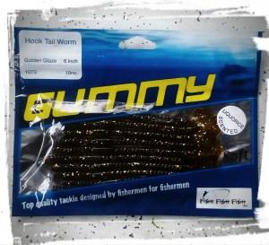 GUMMY Hook Tail Worm in Golden Glaze