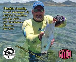 JP Bartholomew fishing on the Mydo team in Mauritius catching loads of bluefin kingfish on his Mydo SS Spoon range.
