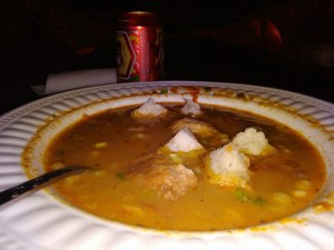 Fish soup as served at ZanziBeach right in the beach at Praia do Tofo