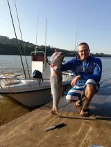Matt Wainwright down on the water at the Umzimkulu Marina with a fresh kob