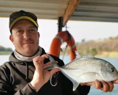 Shaun Begg and one of two GTis caught in the Umzimkulu River recently