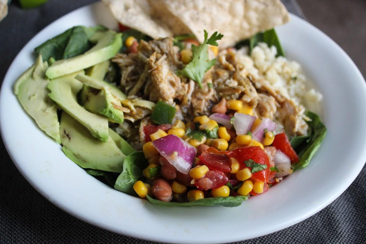 Instant Pot Salsa Verde Chicken Burrito Bowls