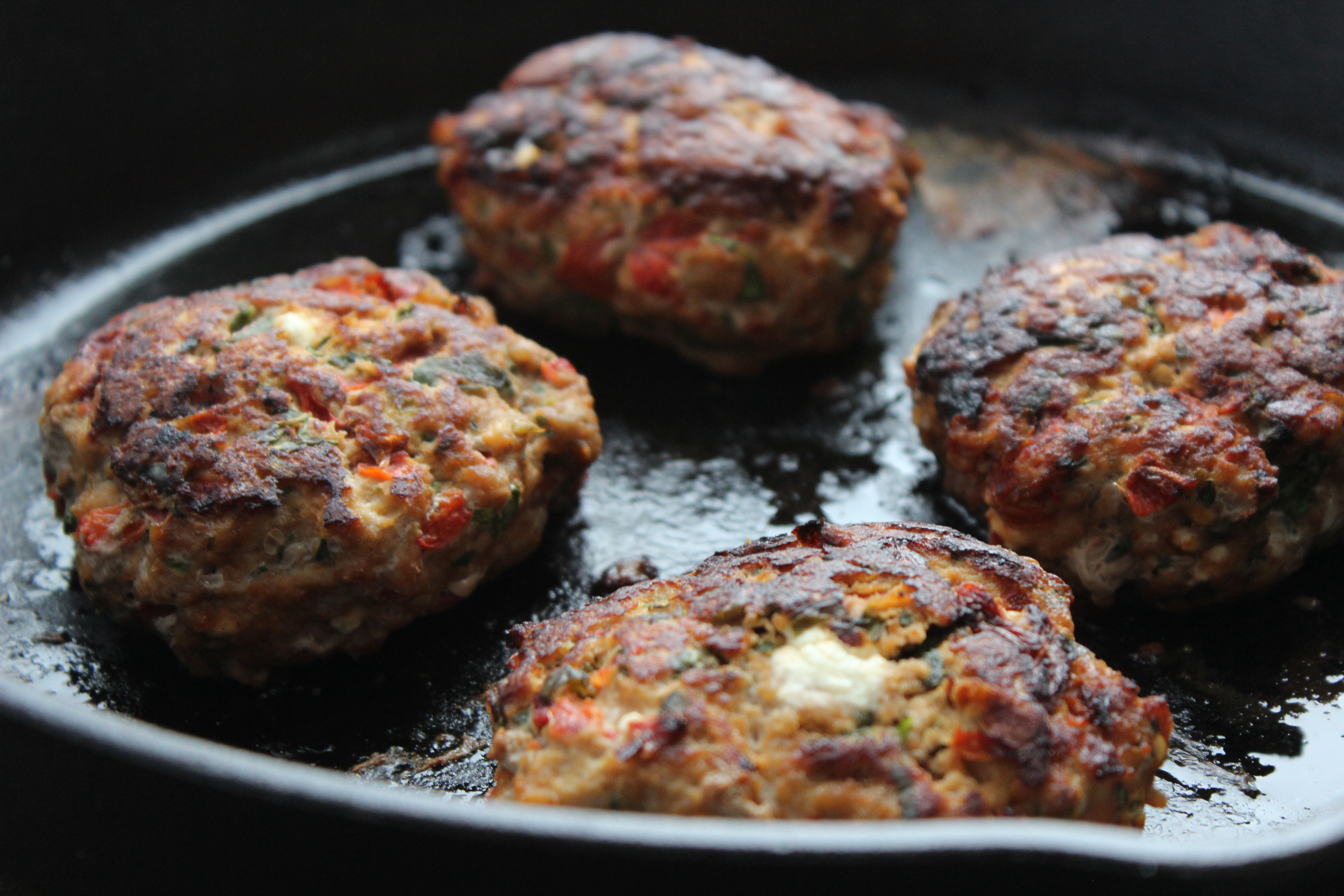 Goat Cheese & Roasted Red Pepper Turkey Burgers