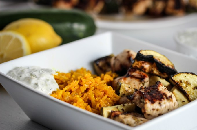 Chicken Souvlaki Skewers with Turmeric Rice