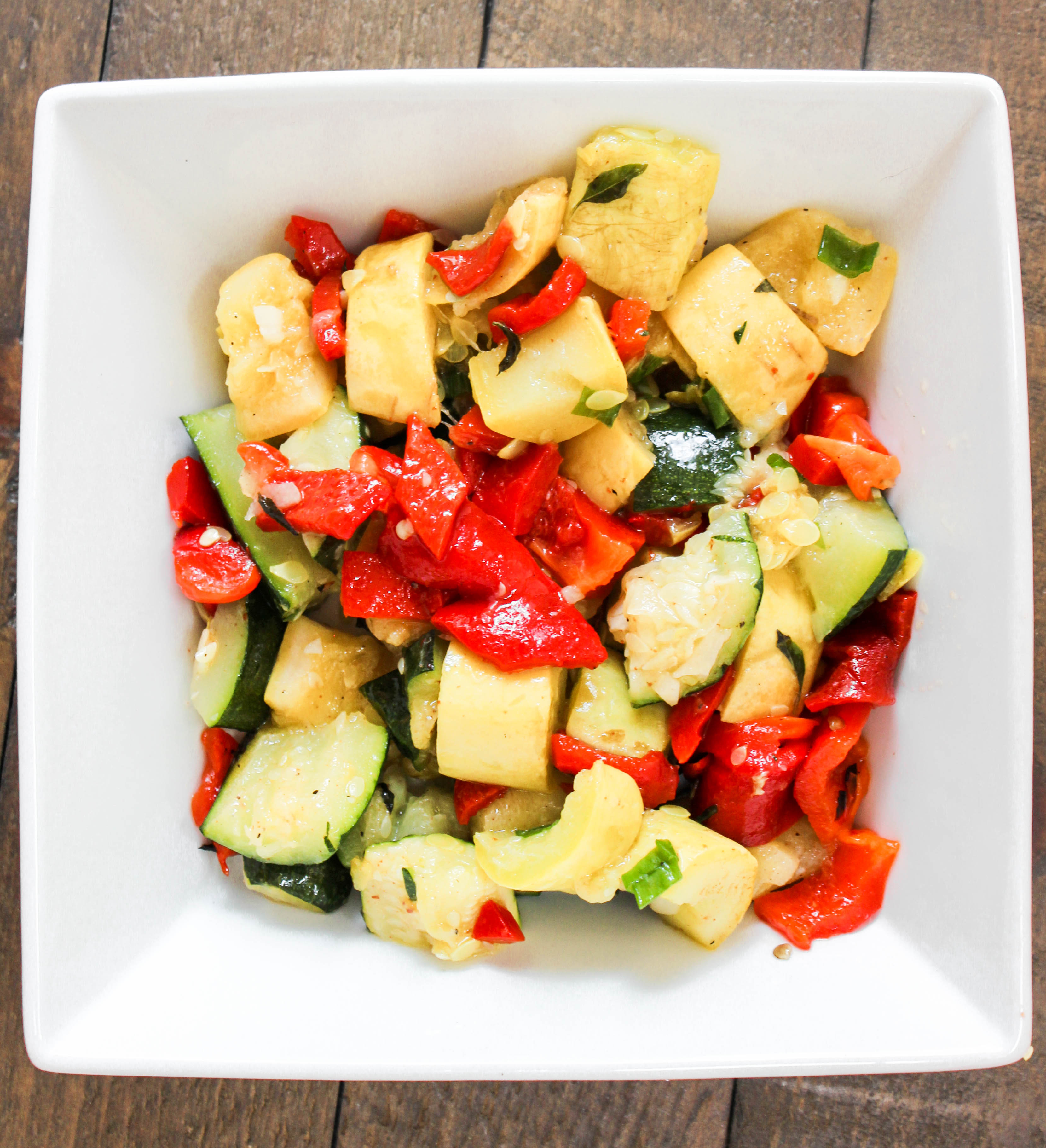 Roasted Red Pepper Zucchini Summer Salad