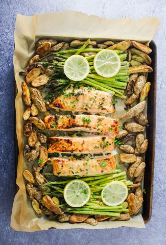 Sheet-Pan Lemon Honey Garlic Salmon, Asparagus, & Potatoes