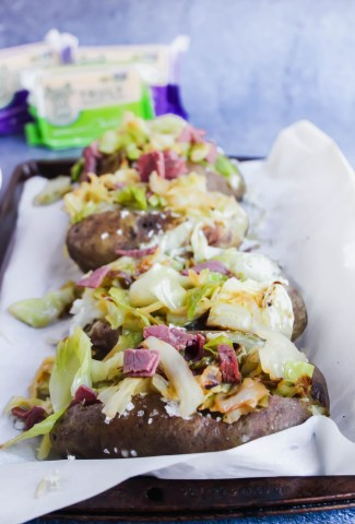 corned beef and cabbage loaded cheddar baked potatoes