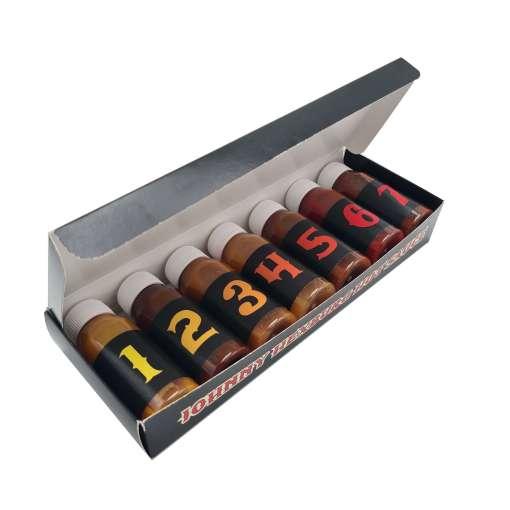 Johnny Hexburg Hot Sauce Challange box