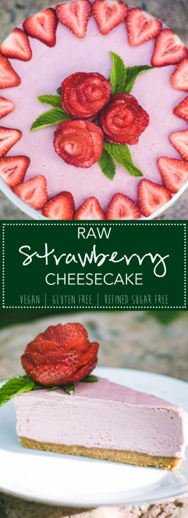 Raw Strawberry Cheesecake - the perfect summer dessert! #dessert #paleo #glutenfree #vegan #refinedsugarfree | thesaucyfig.com width=