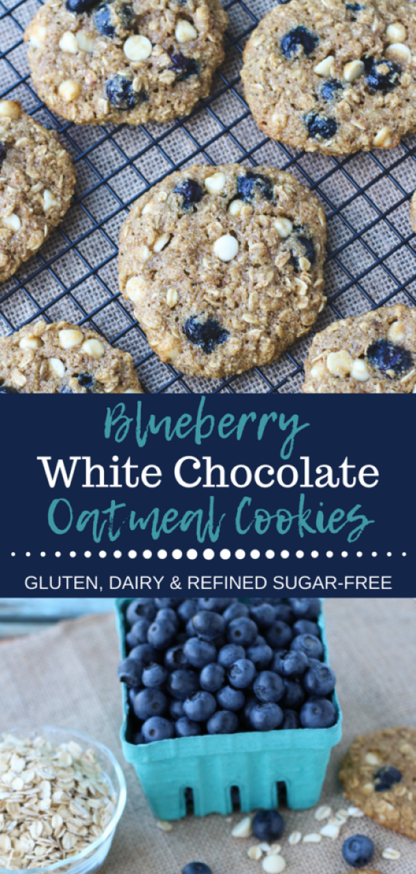 These healthy, soft and chewy oatmeal cookies are loaded with sweet juicy blueberries and white chocolate chips – not to mention gluten, dairy and refined sugar-free! via thesaucyfig.com