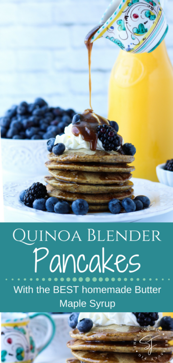 Super easy and yummy – these Quinoa Blender Pancakes come together in less than 5 minutes and are full of nutritious goodness! Plus they're gluten, dairy and refined sugar-free! Topped with the BEST homemade butter maple syrup you will ever try! via thesaucyfig.com