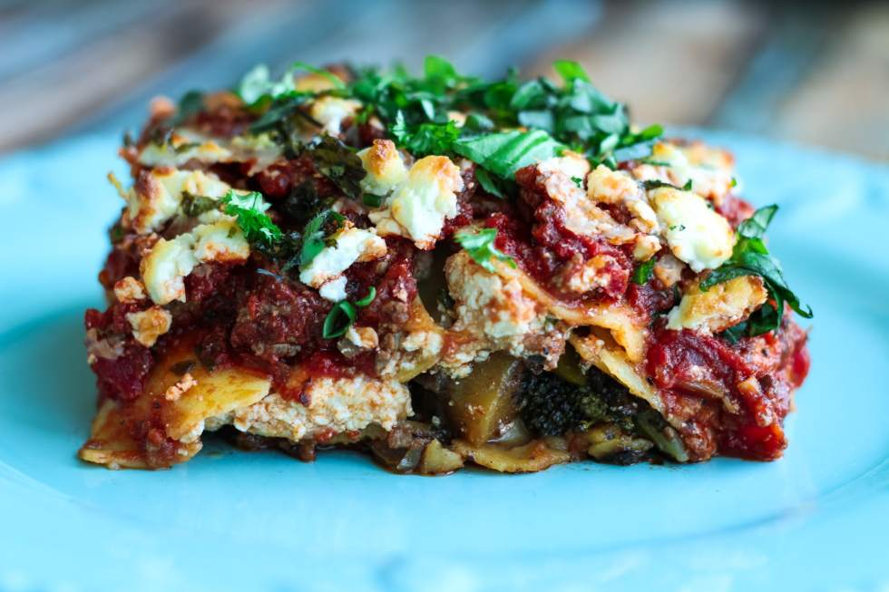 Serving of Roasted Vegetable Lasagna on a plate
