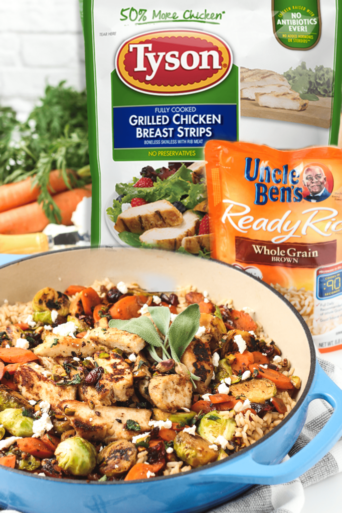 Weeknight Chicken Veggies and Rice in a Skillet with Tyson and Uncle Bens products