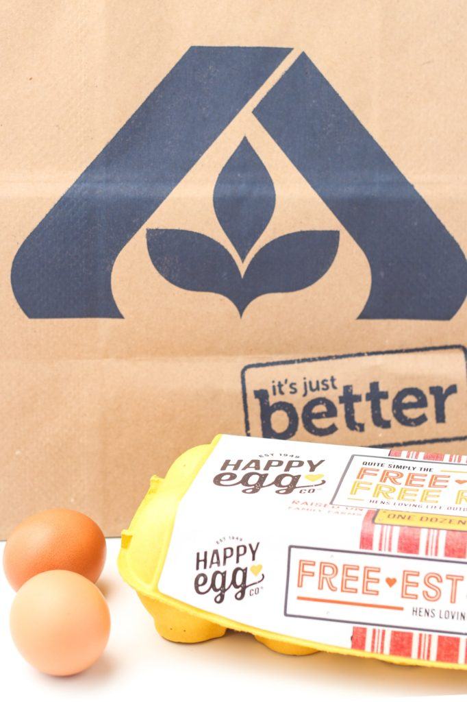 happy eggs with Albertsons grocery bag