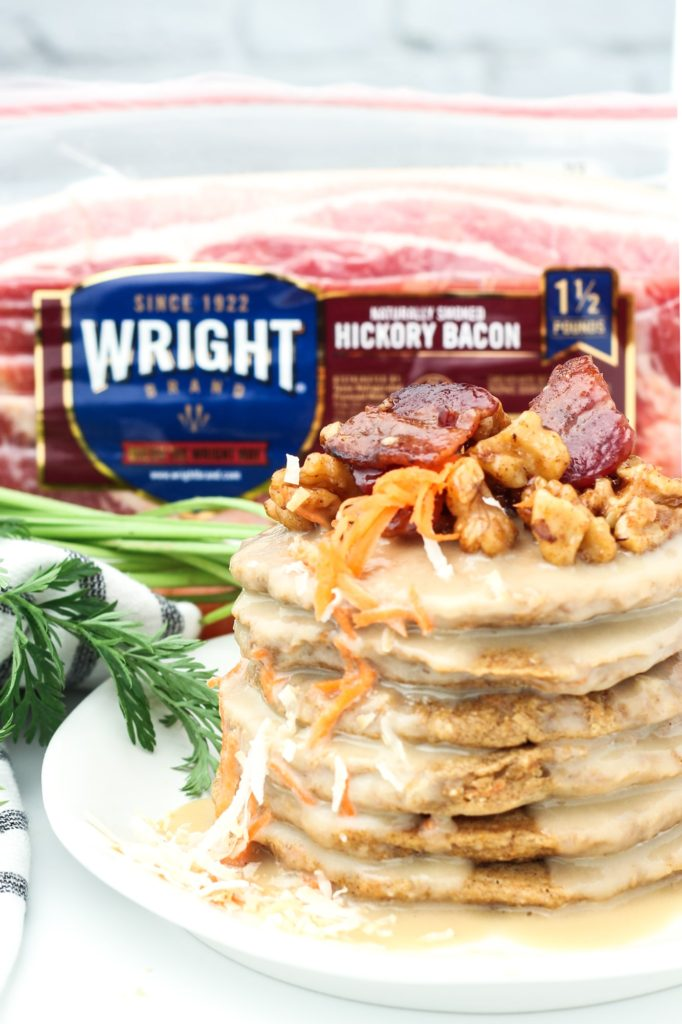 carrot cake pancakes with wright brand bacon