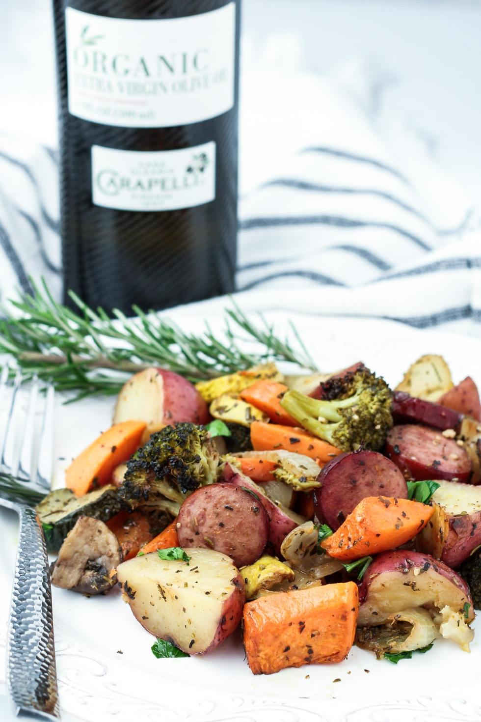 roasted vegetables and sausage with balsamic vinegar and herbs