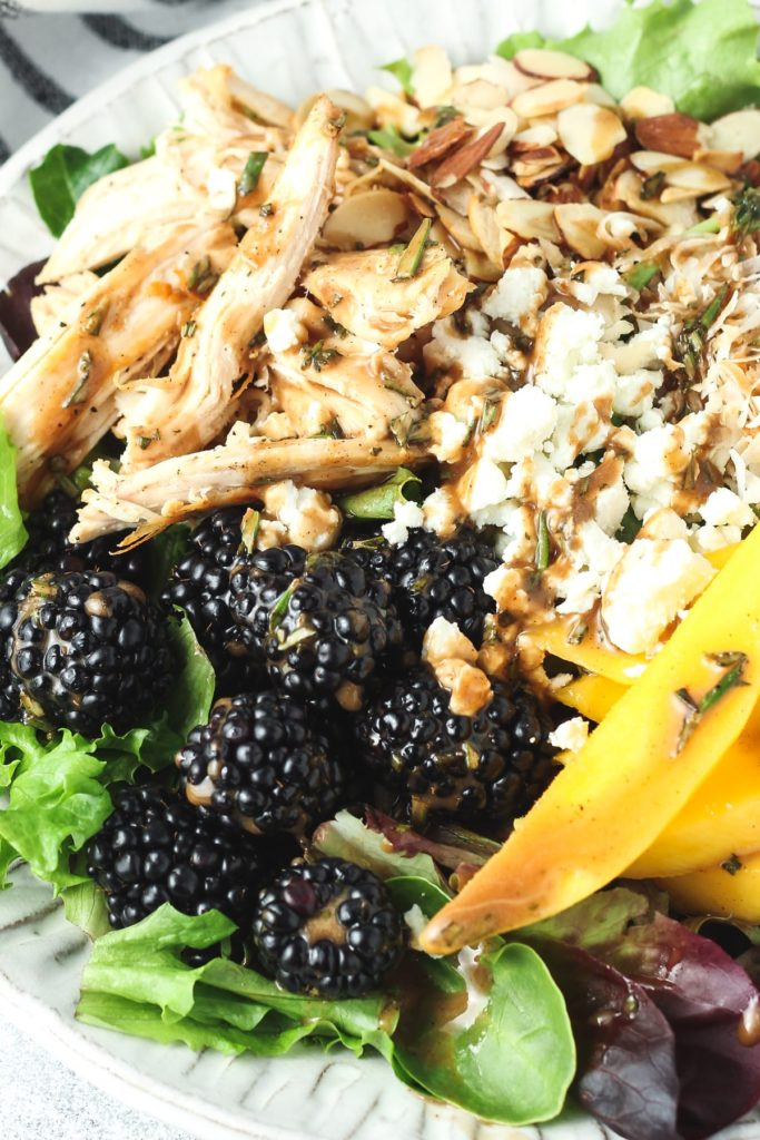 summer salad with berries and chicken