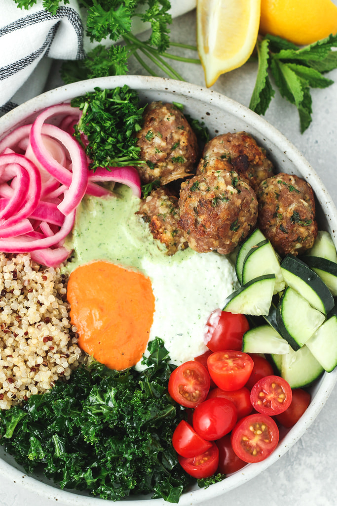 Mediterranean bowls with turkey meatballs and quinoa