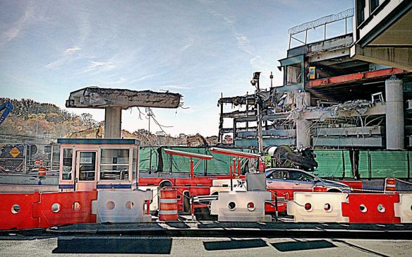 partially dismantled parking garage opposite Central Terminal Building - LaGuardia Airport - Queens, NY - 11-12-16