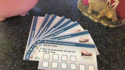Maiale Deli sandwich loyalty card