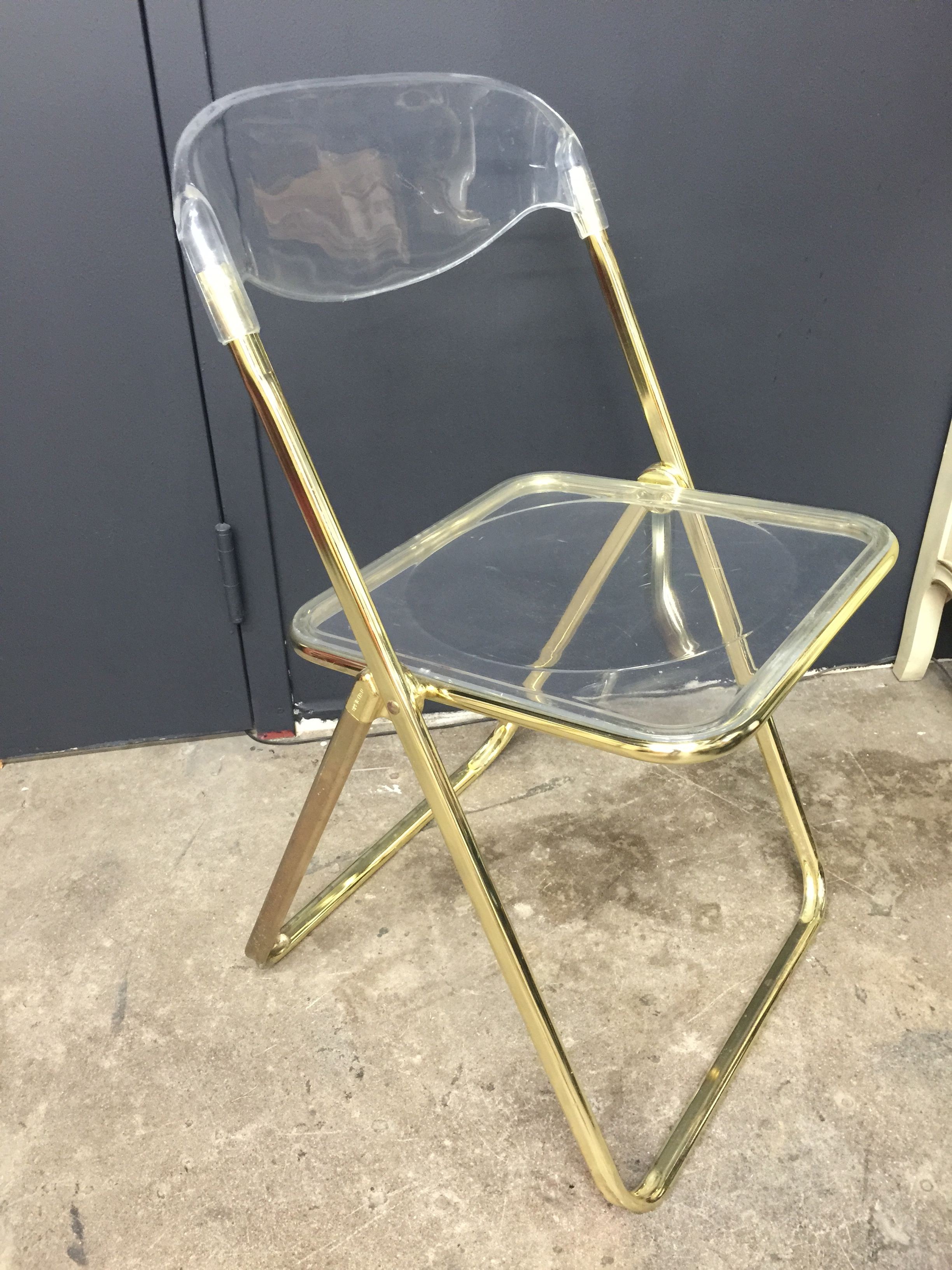 Brevattato Lucite Amp Gold Folding Chair