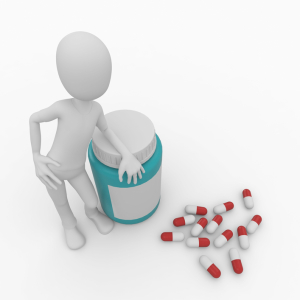 3d man with pills and bottle