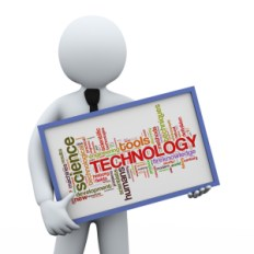 3d businessman holding technology wordcloud