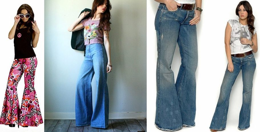 A collage of bell bottoms