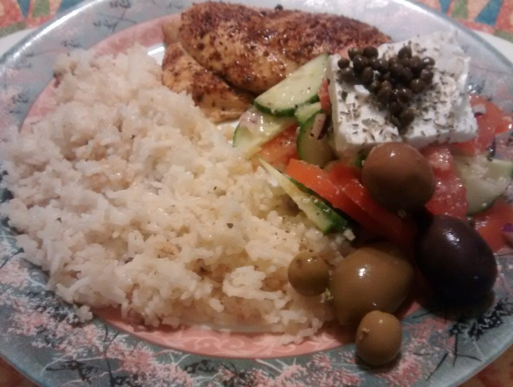 Rice with chicken and feta salad